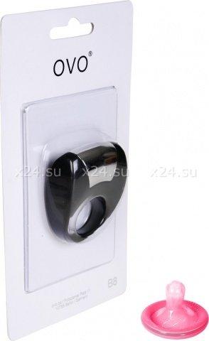 Эрекционное черное кольцо на пенис OVO с вибрацией, фото 5