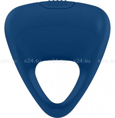 Синее треугольное эрекционное кольцо на пенис OVO с вибрацией, фото 3