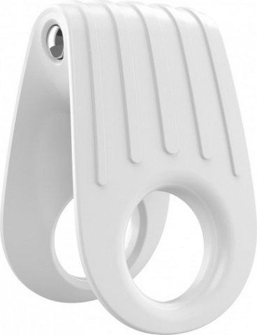 Двойное эрекционное белое виброкольцо на пенис OVO, фото 5