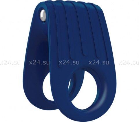 Двойное эрекционное синее виброкольцо на пенис OVO