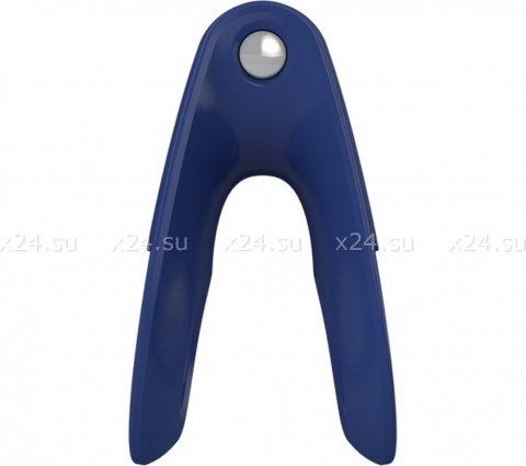 Двойное эрекционное синее виброкольцо на пенис OVO, фото 3