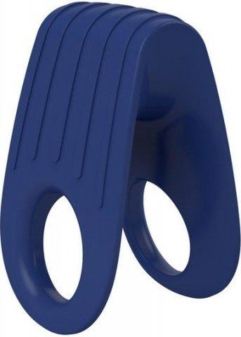 Двойное эрекционное синее виброкольцо на пенис OVO, фото 5