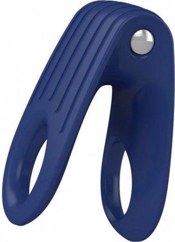 Двойное эрекционное синее виброкольцо на пенис OVO, фото 4