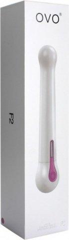 Белый водонепроницаемый вибратор OVO c шариками на концах (5 режимов), фото 4