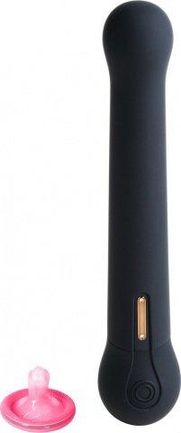Черный водонепроницаемый вибратор OVO c шариком на конце (5 режимов) 22 см