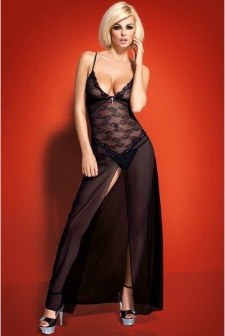 Длинное черное платье с разрезом charms gown