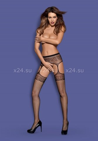 Черные колготки в сетку с имитацией чулок garter stockings s502 xlxxl, фото 3