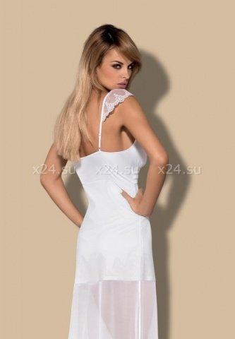 Длинная двухслойная белая сорочка feelia gown, фото 2