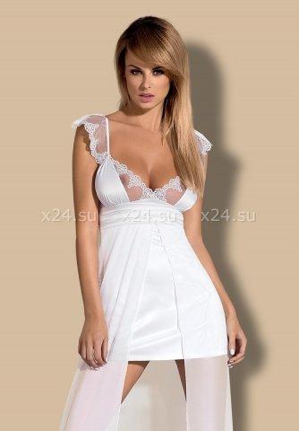 Длинная двухслойная белая сорочка feelia gown