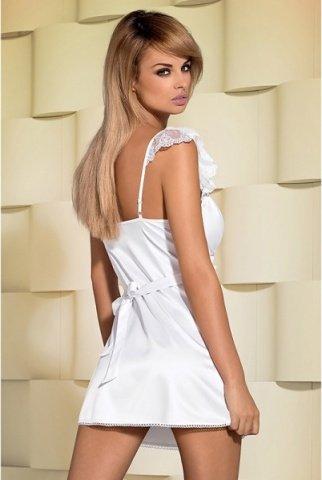 Атласная белая сорочка с полупрозрачными вставками feelia chemise, фото 3