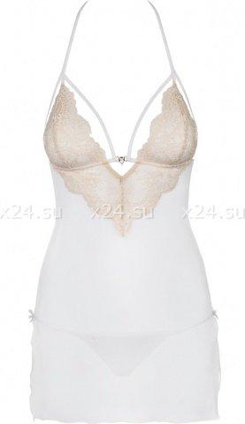 Белое платье с бежевым кружевом bisquitta chemise, фото 3