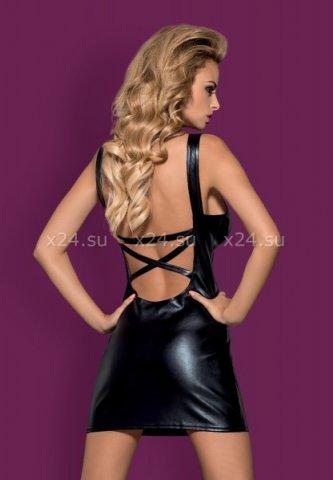 Черное кожаное платье с вырезом на груди Darksy Dress, фото 2