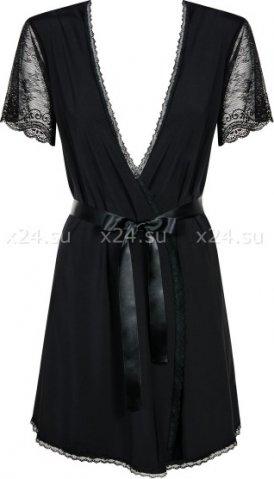 Короткий черный халат с гипюровыми рукавами Miamor Robe, фото 2