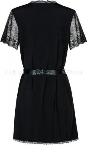Короткий черный халат с гипюровыми рукавами Miamor Robe, фото 3