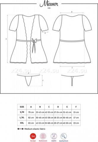 Короткий черный халат с гипюровыми рукавами Miamor Robe, фото 4