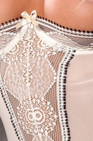 Корсет открытый с пажами и стринги открытые кремовые lanai corset, фото 2