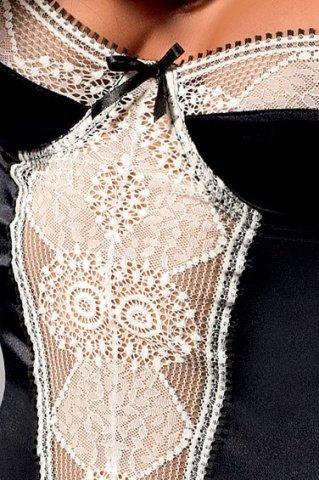 Корсет с пажами и стринги черно-кремовые saba corset, фото 2