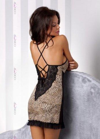 Черно-леопардовая сорочка с кружевом vegas