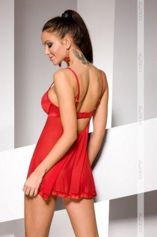 Комбинация и стринги красные essence chemise