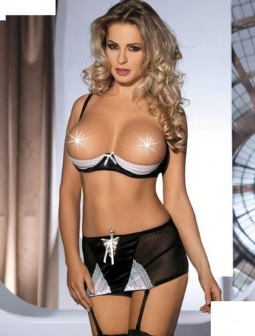 Комплект с открытой грудью Amarone, черно-белый, S/M