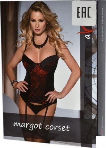 Корсет с подвязками Margot, черно-красный, S/M, фото 3