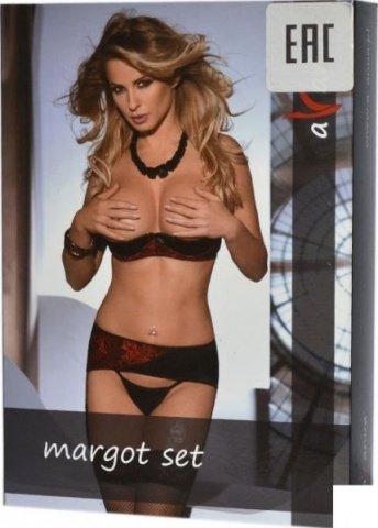 Комплект с открытой грудью Margot, черно-красный, фото 3