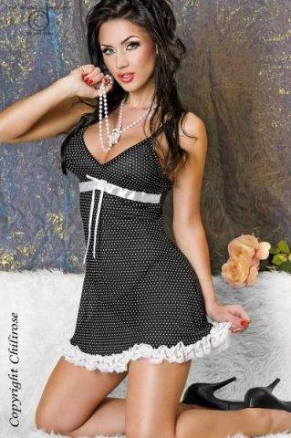 Ночная сорочка в горошек Chilirose, цвет Черно-белый