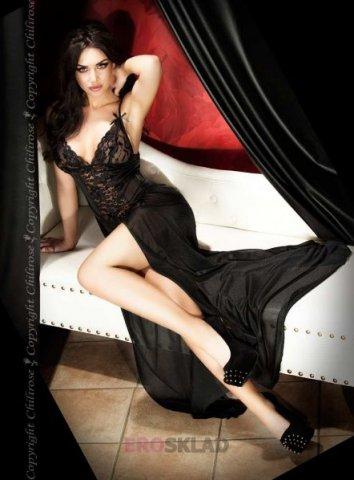 Шикарная ночная сорочка С цвет Черный, фото 5