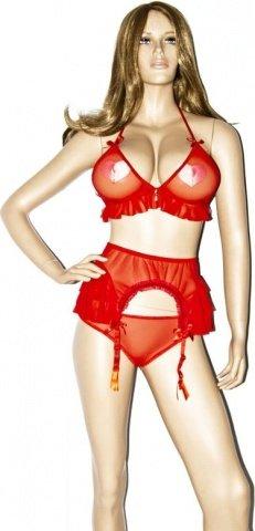Сексуальный комплект с поясом С цвет Красный