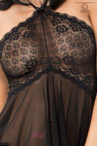Легкая сорочка с кружевом Chilirose, цвет Черный, фото 2