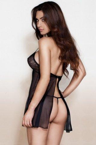 Ночная сорочка с застежкой на спинке и стринги черные, фото 2