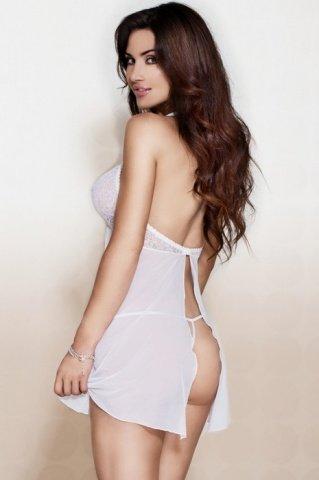 Ночная сорочка с застежкой на спинке и стринги белые, фото 2