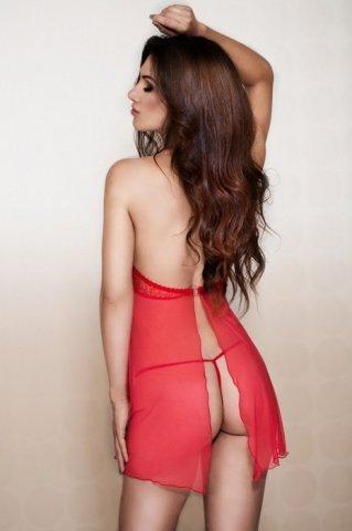 Ночная сорочка с застежкой на спинке и стринги красные, фото 2