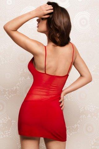 Платье с прозрачными вставками красное, фото 2