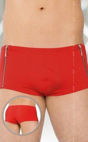 M красный Трусы-шорты мужские с застежкой молнией
