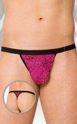 S-L розовый-леопард Трусы-стринг мужские
