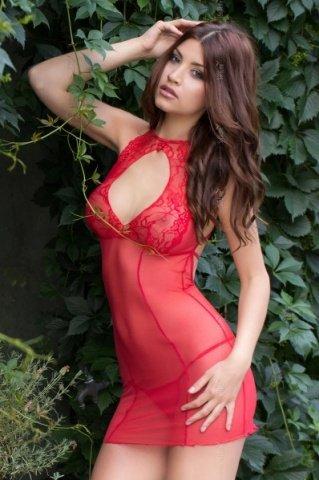 Ночная сорочка и трусы красные-M/L