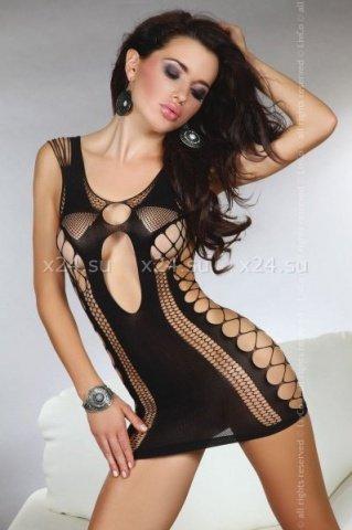 Мини-платье с узором из сетки Anshula black ( )