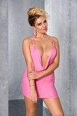 Роз мини платье с глубоким вырезом, открытая спина + стринги | Комплекты эротичного белья | Секс шоп Мир Оргазма