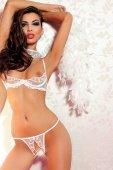 Комплект открытый с украшением на шее кружевной белый-M - Секс-шоп Мир Оргазма