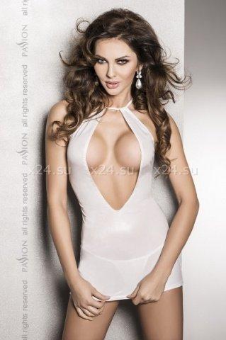 Страстное белое платье с глубоким декольте, открытой спиной и трусики femi white