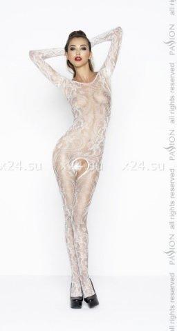 Белый комбинезон с длинными рукавами