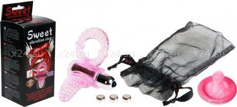 Эрекционное кольцо с 6-ти ур. вибростимул. клитора (розовое) 10 см, фото 2