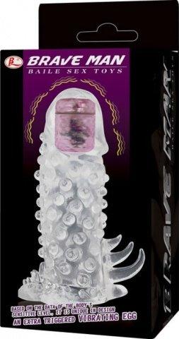 Насадка удлинитель с пупырышками, усиками и вибропулькой 14 см, фото 2