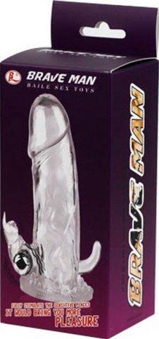 Насадка удлинитель со стимулятором клитора и ануса, с вибропулькой, фото 4