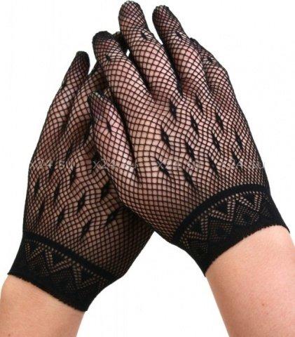 Коротенькие черные перчатки в сеточку, фото 2