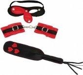 Комплект игровой маска с открывающ. шорами + манжет наручник + шлепалка