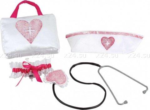 Комплект игровой медсестра сумочка + чепчик + горжетка + фонендоскоп, фото 3