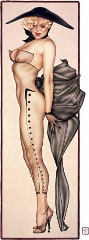 Прозрачный чулок комбинезон украшен рисунком + перчатки