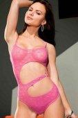Боди розовое прозрачное со звездочками с открытым животом | Белье из натуральной кожи | Интернет секс шоп Мир Оргазма